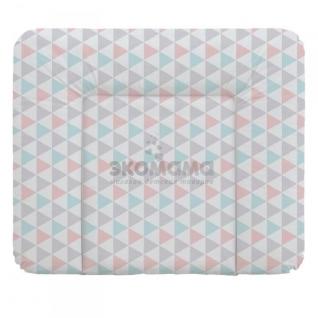 Пеленальный матрац 70x85 см Ceba Baby мягкий на комод - W-134-067-016 Triangle Turquoise/Orange