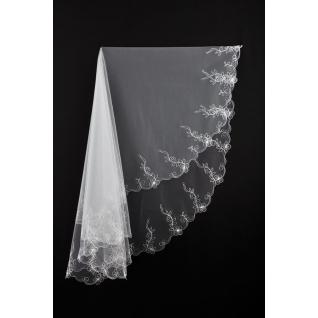 Фата для невесты №21, вышивка, белый /1,5 х 1,5 м/