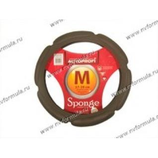 Оплетка на руль Sponge M d37-39см SP-5026 D.GY т серая