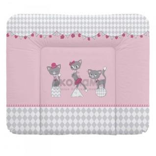 Пеленальный матрац 70x85 см Ceba Baby мягкий на комод - W-134-069-130 Cats Pink