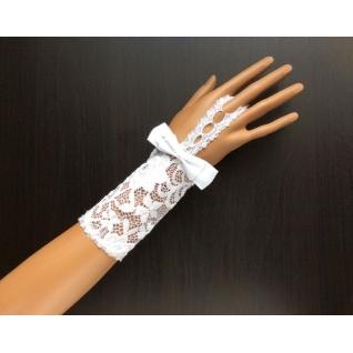Перчатки свадебные №249, белый (12 см, кружево)