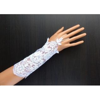 Перчатки свадебные №248, белый (20 см, кружево)
