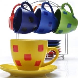 Сервиз чайный 6 чашек(220мл)+ 6 блюдец на подставке LR(х6) (27321)