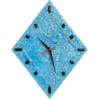 """Часы настенные """"Fondali"""" Белый мрамор в голубой смоле."""