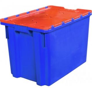 Ящик п/э 600х400х 400 сплошной синий, с крышкой оранжевой (605-1)