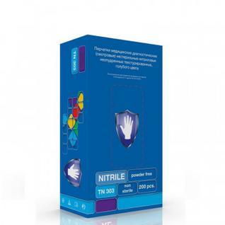 Мед.смотров. перчатки нитрил., н/с, н/о, S&C TN303(XL) 100 пар, голубой Safe and Care
