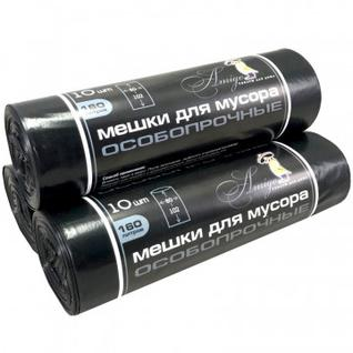 Мешки для мусора ПСД 160л 40мкм 80x102см черный 10 шт/рул