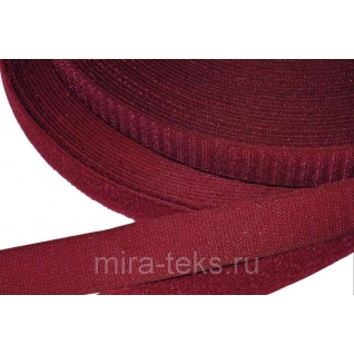 Липучка 50 мм ( лента контакт, велькро ) для одежды, цвет: бордо Miratex