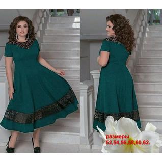 Шикарное свободное платье большого размера с гипюровой вставкой р.52-62
