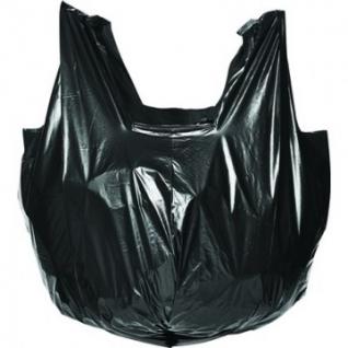 Мешки для мусора ПВД 60л 60x70см 35мкм черные 20шт/рул с ручками Комус