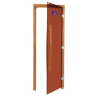 Дверь SAWO 741-3SGD-R-1, бронза без порога с вертикальной изогнутой ручкой 558, правая, кедр
