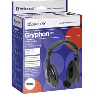 Гарнитура Defender Gryphon 750, 2м, AUX, черная