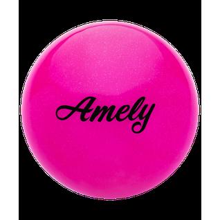 Мяч для художественной гимнастики Amely Agb-102, 15 см, розовый, с блестками