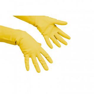 Перчатки резиновые Vileda Profes латекс хлопков.напыл желтый р-р S 100758