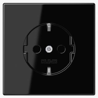 Розетка электрическая Jung LS1520KISW SCHUKO 16A 250V~ со шторками с заземлением черная пластик