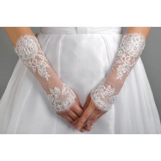 Перчатки свадебные №213, белый (средней длины)
