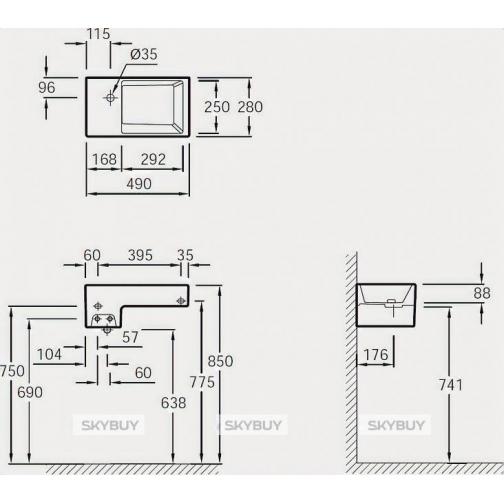 Рукомойник Jacob Delafon Terrace EGA012 49 см 38015993 1