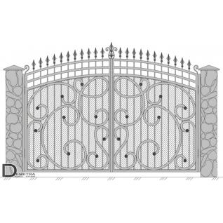Кованые ворота калитка В-026 (2м x 3.5м)