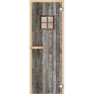 Дверь для сауны АКМА Арт-серия GlassJet ДВЕРЬ С ОКНОМ 7х19 (коробка -осина/липа)
