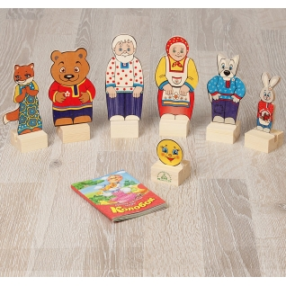 """Деревянный кукольный театр """"Колобок"""", в картонной коробке Краснокамская игрушка"""