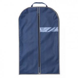 Чехол для одежды из спанбонда с окошком синий, кант серый, BL 120-60