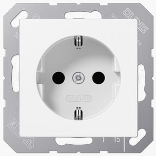 Розетка электрическая Jung A1520KIWW SCHUKO 16A 250V~ со шторками с заземлением белая пластик