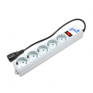 Фильтр-удлинитель Power Cube 0,5 м д/подкл. к UPS (С14), 5 розеток (серый) 10А/2,2кВт