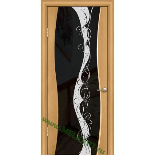 Дверь ульяновская шпонированная Тироль со стеклом триплекс 49379
