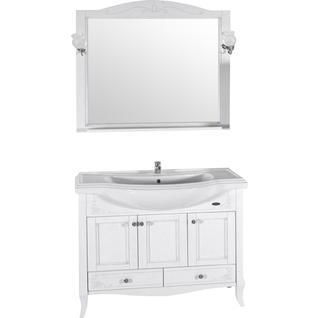 Зеркало Салерно 105 (Белый/Патина серебро) ASB-Woodline