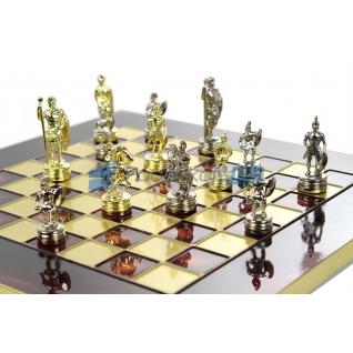 """Шахматы """"Греко-Римские"""" в кейсе (красная доска, фигуры золото-серебро), малые"""