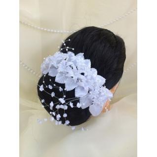Венок свадебный №05, белый с блеском (лилии)