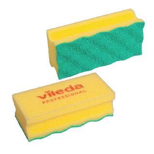 Губки для мытья посуды Vileda ПурАктив желтая зелён абразив 10шт/уп 123117