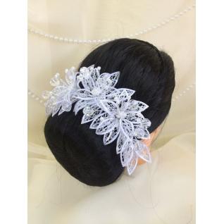 Венок свадебный №16, белый (лилия, блеск серебро)