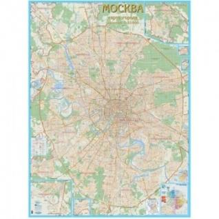 Настенная карта Москва с каждым домом 1:21тыс.,1,55x2,06м.