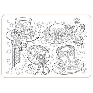 """Коврик-раскраска маленький """"Аксессуары для девочек. Шляпы """" размер 48х33,5 см ЯиГрушка"""