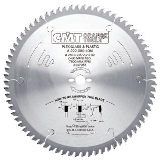Диск пильный по ПВХ и оргстеклу CMT 222.080.10M