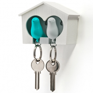 Держатель+брелок для ключей двойной Qualy Sparrow белый/голубой