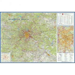 Настенная карта Московская область 1:270тыс.,1,57х1,07м.