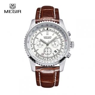 Megir Aviator Chronometer (серебристый корпус, белый циферблат, коричневый ремешок)