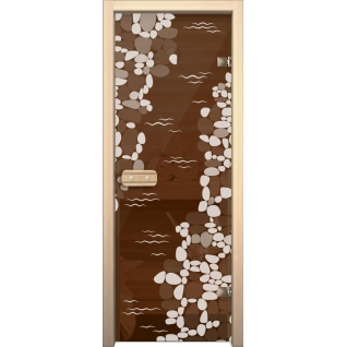 Дверь для сауны АКМА Арт-серия GlassJet РУЧЕЙ 7х19 (коробка -осина/липа)