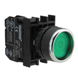 Кнопка круглая без фиксации зеленая (1 НО) B100DY Emas