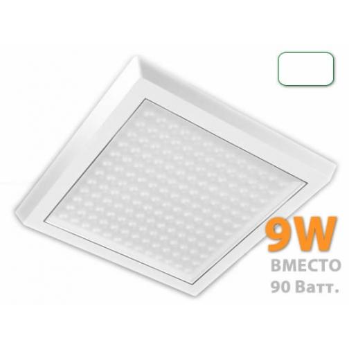 8W, накладной светильник, квадрат белый, прозрачное стекло, 220V, 48LED, 6400К, IP44, 11-13lm 623