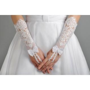 Перчатки свадебные №205, белый (средней длины)