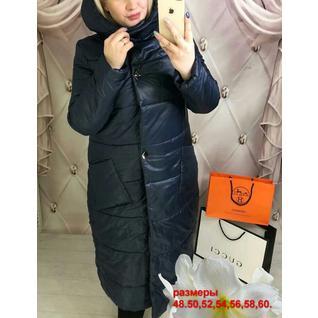 Длинное болоневое пальто большого размера р.48-60