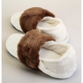 Тапочки с подогревом Thermo, р-р XL, белые с коричневым мехом Thermo