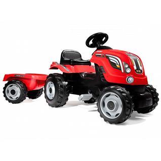 Детские веломобили Smoby Smoby 710108 Трактор педальный XL с прицепом, красный