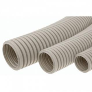 Труба гофрированная 20мм ПВХ Т-пласт с протяжкой, серая (100м в бухте)