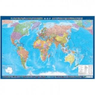 Настенная карта Мир политическая 1:34млн.,1,0х0,7м.