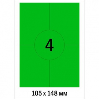 Этикетки самоклеящиеся Promega label 105х148мм зел/4шт.на лис А4(100л/уп.)