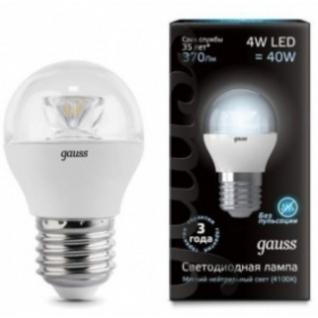 Gauss Лампа Gauss LED Globe Crystal Clear E27 4W 4100K 1/10/50